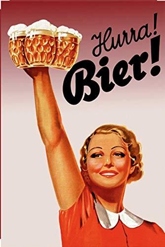 Schatzmix 20x30 cm Hurra Bier Girl Bierkrug Fun Bar Metall Schild Blechschild, Blech