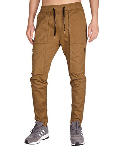Italy Morn Men Chino Cargo Jogger Pants Casual Sweatpants Twill Khakis Slim fit L Camel