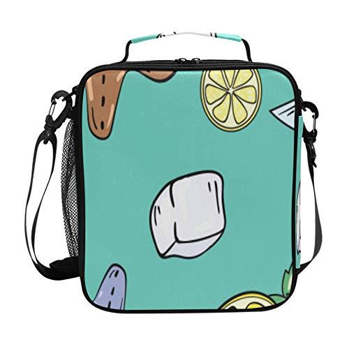 Paquetes de hielo para loncheras Cóctel Rebanada de limón Lonchera para adultos para mujeres con correa de hombro ajustable y múltiples bolsillos Bolsas de almuerzo