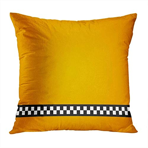 Hangdachang - Funda de almohada, diseño vintage, color amarillo, taxi sin funda de almohada, decoración del hogar, funda de cojín decorativa para sofá de salón, funda cuadrada de 45 x 45 cm