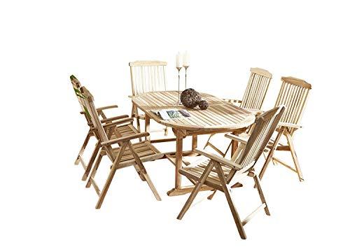 SAM® SAM 7tlg. Gartengruppe Aruba, Teak-Holz, 1 x ovaler Ausziehtisch ca. 180-240 x 100 cm + 6 x Hochlehner Aruba