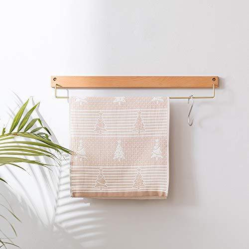 Estante flotante de madera maciza montado en la pared para toallas de baño, haya, Natrual, 60 cm