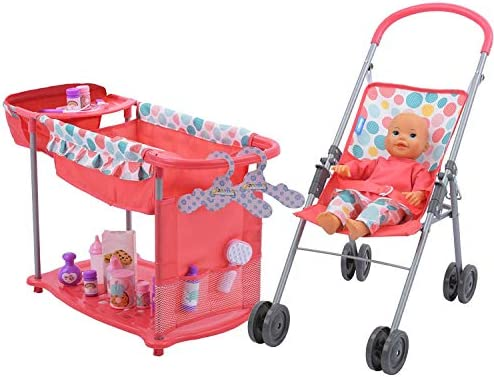 Hauck 14 inch Baby Doll with High Chair Bed Cradle Care Center and 15 Accessories product image