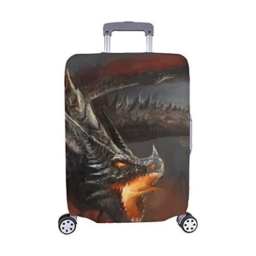 (Solo Cubrir) Escena de fantasía Caballero luchando Dragón Stock de ilustración Maleta Maleta de Viaje Protector de Equipaje Maleta Cubierta Protectora para 28.5 X 20.5 Inch