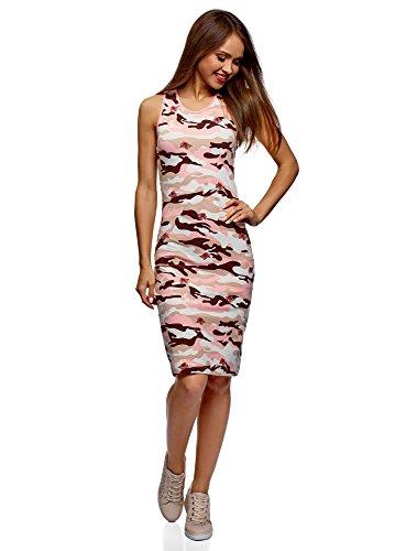 oodji Ultra Damen Enges Baumwoll-Kleid, Rosa, DE 32 / EU 34 / XXS