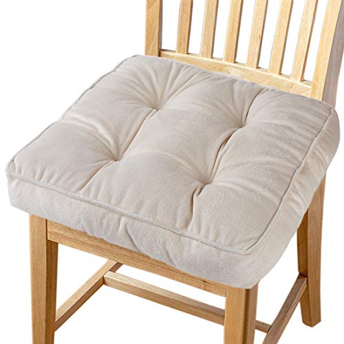 Big Hippo Chair Pads Square Cotton Chair Cushion with Ties Soft Thicken Seat Pads Cushion Pillow for Office,Home or Car Sitting 17' x 17'(Beige)