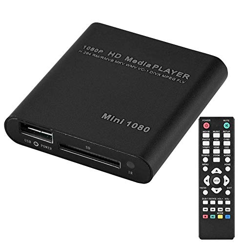 VBESTLIFE 1080p HD mediaspelare, mini-VGA-hemmabio, mediaspelare center stereo surroundljud AV/HDMI/YPbPr-utgång med fjärrkontroll stödjer SD-kort och USB-enheter, svart