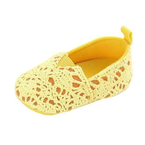 kingko® Bébés Filles Infant Enfants Semelles Souples Crib Toddler Newborn Tissu tricoté Chaussures (6~12 Mois, Jaune)