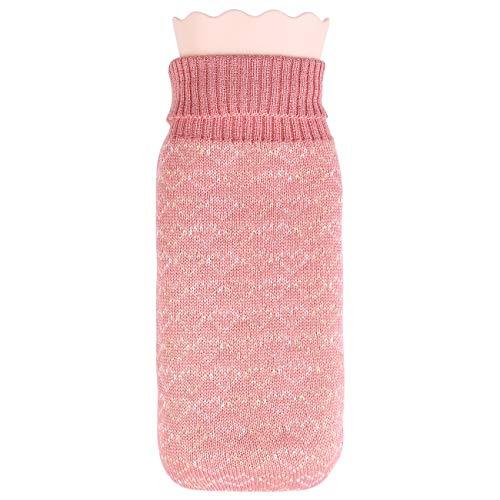 Wärmflasche mit Bezug, 600ML Wärmflasche mit Strickabdeckungen Abnehmbare, Schadstoffreie Wärmflasche kinder, Schnelle Schmerzlinderung Bauchschmerzen, Krämpfe (Pink)