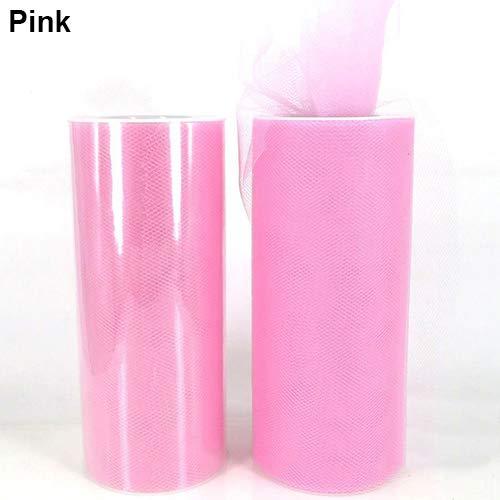 Achidistviq 15,2cm 22,9m rotolo di tulle bobina per nozze sposa sedia tutu decorazione artigianale rosa
