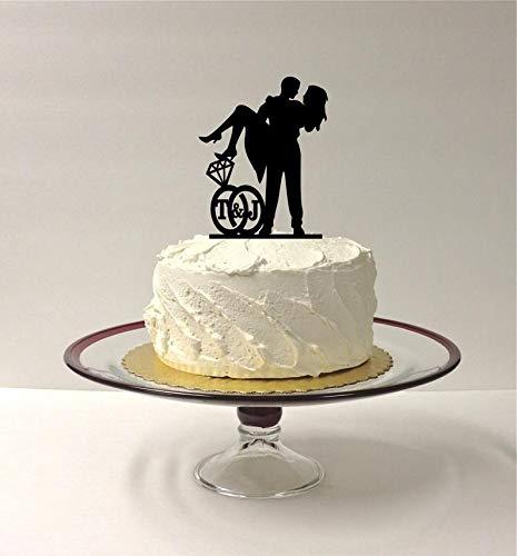 Gepersonaliseerde bruiloft taart topper met uw initialen van de bruid en bruidegom, ring ontwerp, schattig taart topper, Silhouette bruiloft