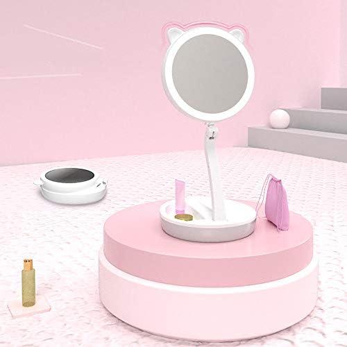 ZLMFBMStom Makeup spiegel opvouwbare staande spiegel tafelspiegel 200 instelbaar dimbaar compact vrouwen 1X5Xvaks vergroting van kristalglas draadloze oplaadfunctie A wit
