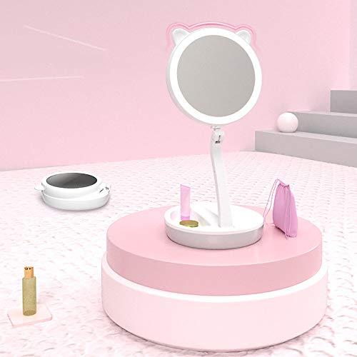 ZLMFBMStom Make-up spiegel opvouwbare staande spiegel tafelspiegel, 200° instelbaar, dimbaar, compact, vrouwen, 1X/5X-vaks vergroting van kristalglas, draadloze oplaadfunctie A wit