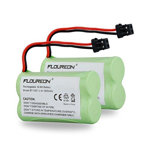Floureon Cordless Phone Battery 2-Pack Premium High Capacity 1800mAh Equivalent BT-1007, Bt1007 BT-904, BT904, BBTY0707001,HHR-P506, VT-62-9116B, KX-TG2000B Handset, Replacement Battery