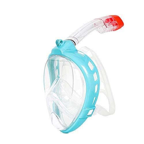 LKNJLL Máscara de Snorkel de Cara Completa, Juego de Snorkel con Montaje en cámara, máscara panorámica Anti Anti antiholera Anti Fugas, Traje de natación para Adultos y jóvenes