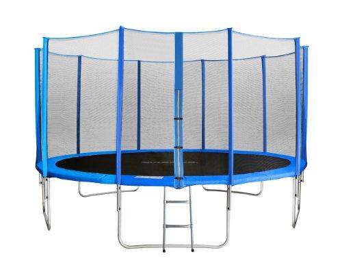 SixBros. SixJump 2,45 M Trampolín Cama elástica de jardín Azul - Escalera - Red de Seguridad - Lluvia Cobertura TB245/1609