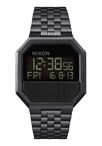 NIXON Re-Run A158 - All Black - 30m Water Resistant Men's Digital Fashion Watch (38.5mm Watch Face, 18mm-13mm Stainless Steel Band)