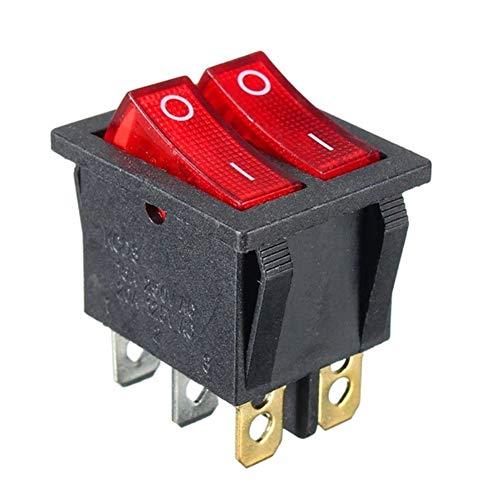N\\A Elektro-Master-Schalter für Fensterheber LED-Licht Bidirektionale 6-Fuß 2-Reset-Power-Rocker Umschaltfläche 250V15A RED Master-Schalter für Fensterheber Steuer