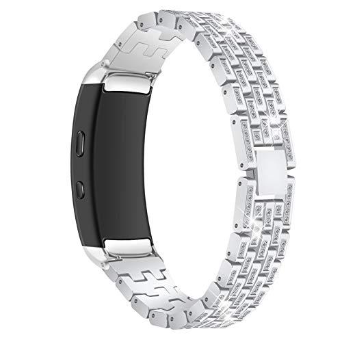 Correa de Reloj para Gear Fit 2, Miya System Ltd Pulsera de Reloj de Acero Inoxidable Bling Rhinestone Metal Fitness Pulsera Compatible con Samsung Gear Fit 2 / Gear Fit 2 Pro R360 / R365 (Astilla)