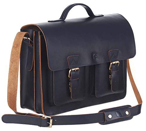 Schoolmaster classic in Midnight Blue, stilvolle Lehrertasche & Aktentasche aus echtem...
