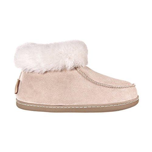 Vanuba Peppin - Pantofole da Donna Artigianali, in Pelle Naturale, Lana di Pecora al 100%, Scarpe da Casa Calde e Confortevoli (40 EU, Beige/Bianco (White))