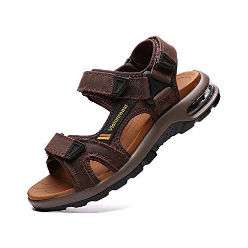 visionreast Męskie skórzane sandały plażowe, sandały turystyczne, na lato, wygodne buty trekkingowe, do uprawiania sportu, z zapięciem na rzepy, ciemnobrązowy - ciemnobrązowy - 39 eu