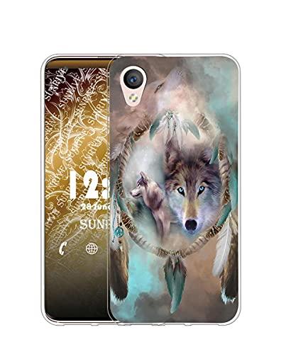Sunrive Kompatibel mit Alcatel Idol 4/BlackBerry Dtek50 Hülle Silikon, Transparent Handyhülle Schutzhülle Etui Hülle (Q Wolf 5)+Gratis Universal Eingabestift MEHRWEG