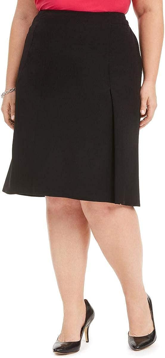 Kasper Womens Plus Crepe Pleated A-Line Skirt