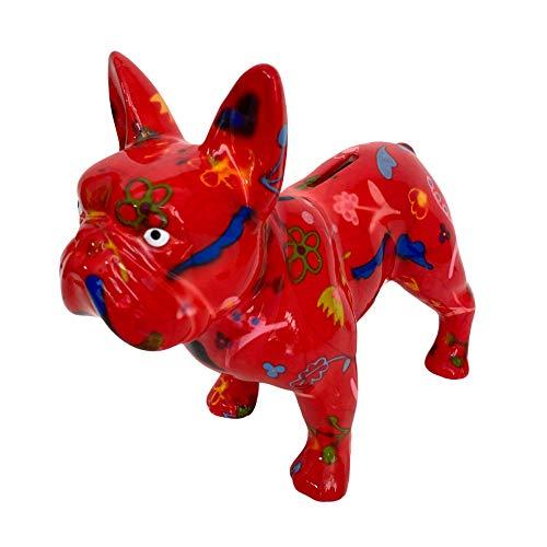 Pomme Pidou Spardose Franz. Bulldogge rot mit Blumen Sparbüchse Sparschwein Geldgeschenk