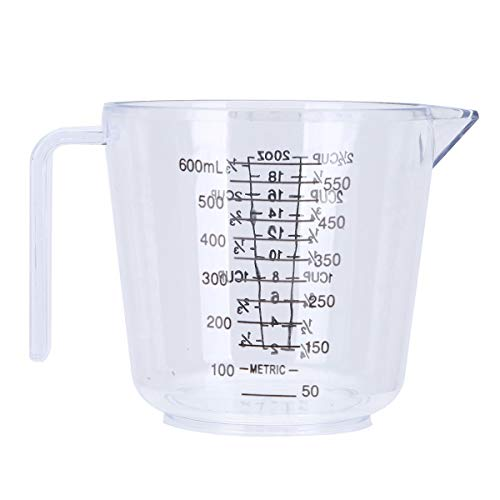 JEATHA Plastic Liquid Measuring Cups Stackable Clear Measuring Cup with Handle and Measurement Scales BPA-free Heat-resistant for Cooking Baking Transparent 600ML