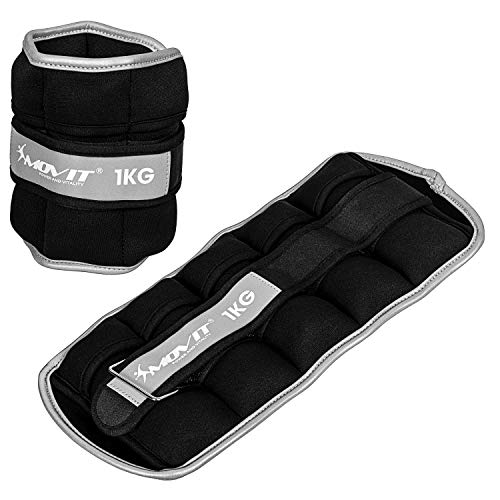 Movit® 2er Set Gewichtsmanschetten Neopren mit Reflektormaterial 2X 1,0kg, verstellbar, inkl. 5 Nylon-Gewichtsbeutel mit Eisensand, Laufgewichte für Hand- und Fußgelenke