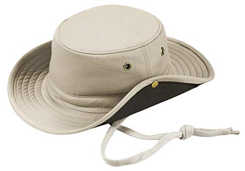Broner Mens Solarweave Floater Hat with Chincord and Side Snaps, Stone, Large