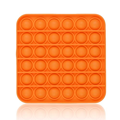 Push Pop Bubble Sensory Fidget Toy, Durable Squeeze Sensory Toy for Training Logical ThinkingSoft Silicone for Anxiety Stress (Orange-Square)