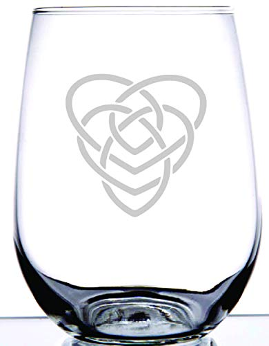 IE Laserware Irish Celtic Motherhood Knot Laser Etched Engraved Wine Glass, 15 Ounce Stemless Wine Glass -Unique Gift For Mothers