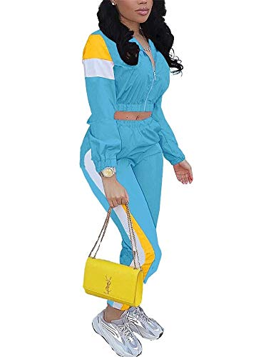 EOSIEDUR 2 Piece Sport Outfits Color Block Crop Top Light Polyester Windbreaker Tracksuit Blue Medium Size 2-4