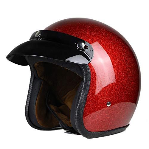 Woljay 3/4 Offener Sturzhelm, Helmet Motorrad-Helm Jet-Helm Scooter-Helm Vespa-Helm Halbhelme Motorrad Helm Flat Rot (S)