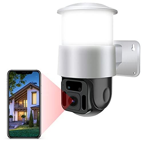 Caméra Surveillance Extérieure sans Fil WiFi 1080P Caméra Surveillance Vision Nocturne Couleur Etanche IP65 avec Audio Bidirectionnelle Eclairage Intégré Détection des Mouvements Sirène Intégrée