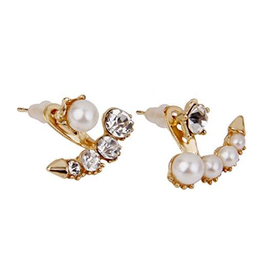 SDENSHI Pendientes de Botón de Cristal de Diamantes de Imitación de Perlas de Imitación Blancas de Moda Joyas de Oro