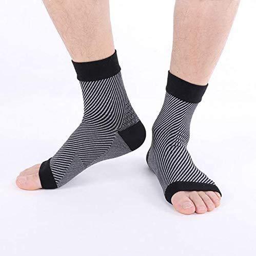 Soporte de tobillo para el flujo de aire, tendinitis de aquiles, transpirable, ayuda con distensiones, esguinces, inestabilidad, debilidad y tobillos artríticos. Par de calcetines, unisex, negro -S/M