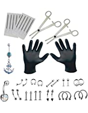 Professional Piercing Set 38pcs Belly Ring Tongue Nose Body Jewelry Stainless Steel Body Tool Kit