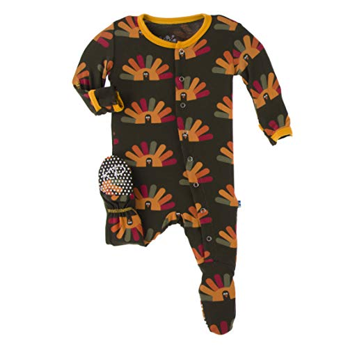 KicKee Pants Print Footie with Snaps, Stylish Jammies, Onesie Boy or Girl Baby Clothes, Sleepwear for Babies (Bark Turkey - 0-3 Months)