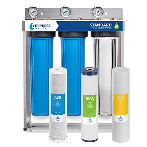 "Product Image of the Express Water Whole House Water Filter – 3 Stage Home Water Filtration System – Sediment, Coconut Shell Carbon Filters – includes Pressure Gauges, Easy Release, and 1"" Inch Connections"