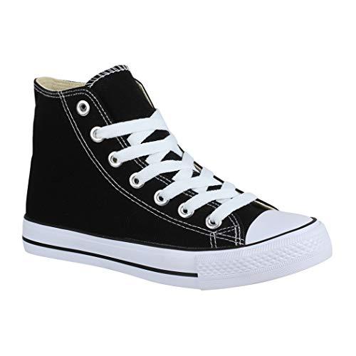 Elara Unisex Sneaker Bequeme Sportschuhe für Damen und Herren Low top Turnschuh Textil Schuhe Black-44