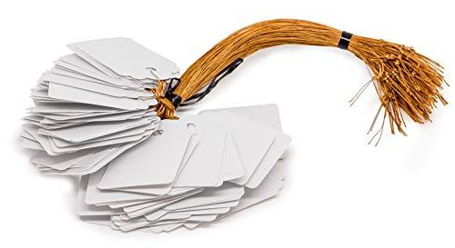 Mini witte borden voor hangers 100 stuks. Blanco kunststof incl. snoer draad als prijskaartje naambordje kleding wit bord van kunststof karton knutselen zelfvormgeven feesten bruiloft geschenken