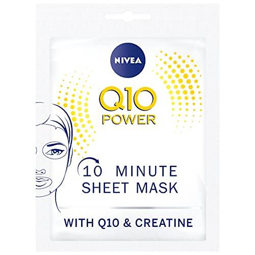 NIVEA Q10 POWER Anti-Falten + Straffung 10 Minuten Tuchmaske im 5er Pack (5 x 1 Stück), Gesichtsmaske mit Anti-Falten Wirkung, straffende Gesichtspflege