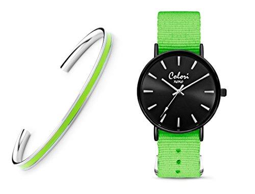 Colori XOXO 5-COL550 - Horloge - nato band - groen - ø 36 mm