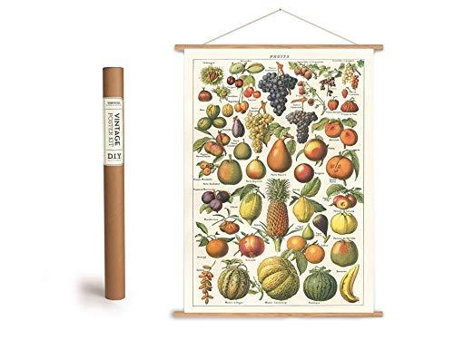 Cavallini Vintage Poster Set mit Holzleisten (Rahmen) und Schnur zum Aufhängen, Motiv Früchte, Obst