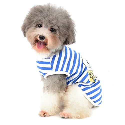 Zunea Hunde T-Shirt für Kleine Hunde Gestreift Weiche Baumwolle Weste Sommer Tanktop Welpen Kleidung Haustier Katzen Tee Shirt Chihuahua Bekleidung für Jungen und Mädchen Blau L
