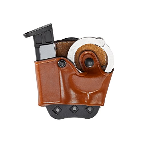 Aker Leather 519 DMS Combo Handcuff Case and Magazine Pouch, Glock 17 Double Stack 9mm/.40 caliber, Tan