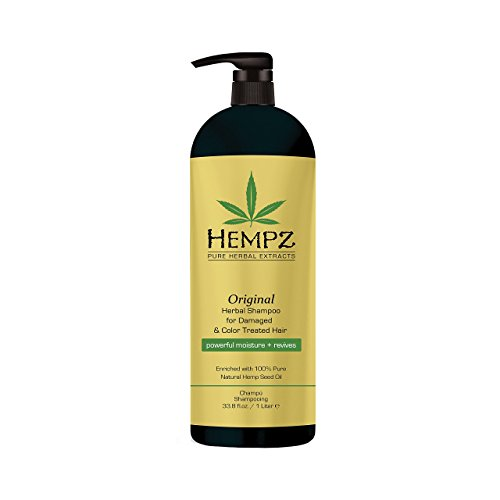 Hempz Original Herbal Shampoo for Damaged and Color Treated Hair, Pearl Yellow, Floral/Banana, 33.8 Fluid Ounce (1 Liter)